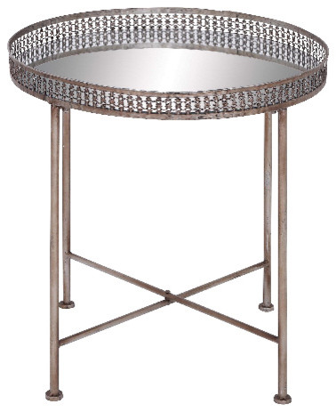 Ordinaire Metal Tray Table Round Deep Set Top Mirror Home Furniture Accent Decor 50474
