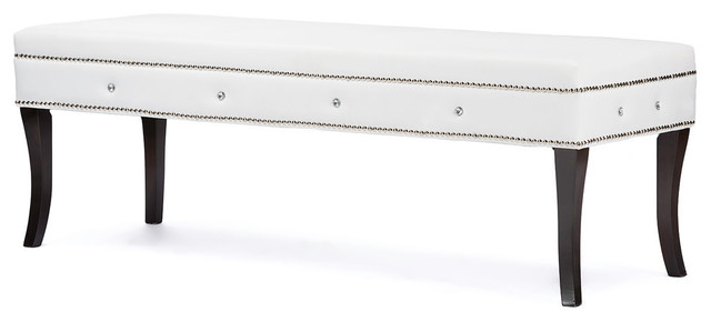 Tavignano Leather Contemporary Bench, White.