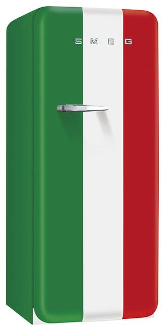 Retro-Style Refrigerator, Italian Flag, Right Hand Hinge