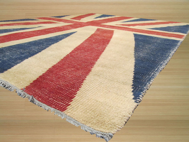 Contemporary Red Wool Rug 5 X8