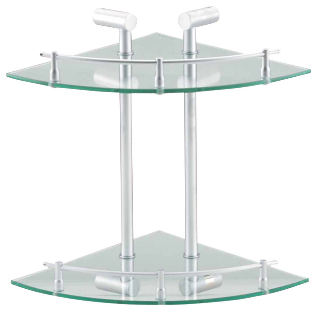 bathroom shelving clear glass stainless double glass shelf