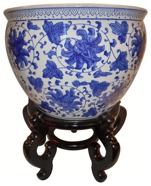 Blue And White Porcelain Jardiniere Indoor Outdoor Use 14