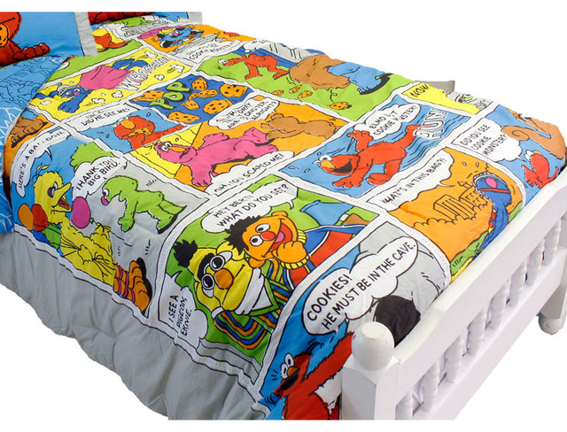 Sesame Street Full Comforter Set Elmo Comic Strip Bedding  Traditional Kids Bedding