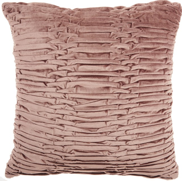 """18""""x18"""" Mina Victory Life Styles Ruched Velvet Throw Pillow, Nude."""