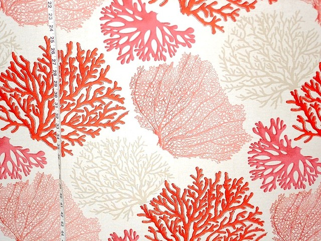 Coral Pattern Fabric red coral fabric pink salmon orange ocean - beach style - drapery