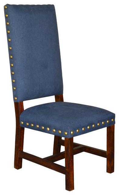 Indigo Blue Denim Fabric Chair + Brass Nail Heads