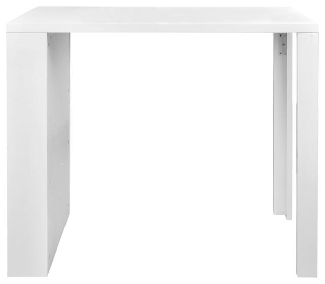 VidaXL High Gloss Bar Dining Table with 3 Racks, White