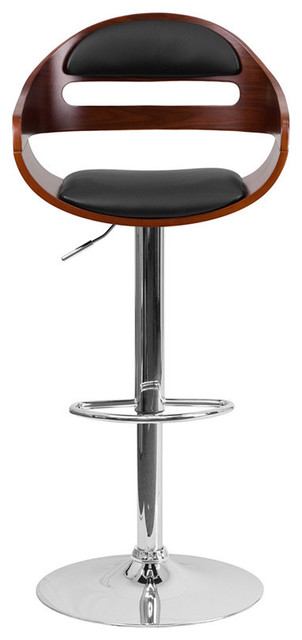Terrific Walnut Bentwood Adjustable Height Barstool With Black Vinyl Seat And Cutout Padd Caraccident5 Cool Chair Designs And Ideas Caraccident5Info