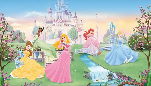 Disney dancing princesses large prepasted accent wall for Disney princess mural wallpaper