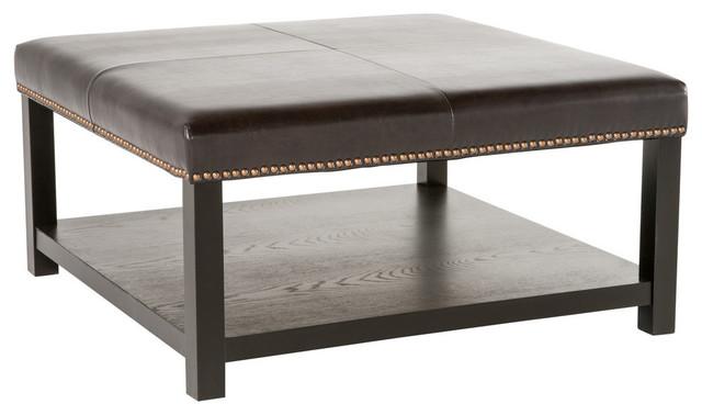 Tremendous Gdf Studio Kelapith Leather Ottoman Brown Bench With Rack Machost Co Dining Chair Design Ideas Machostcouk