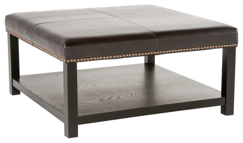 GDF Studio Kelapith Leather Ottoman Brown Bench With Rack