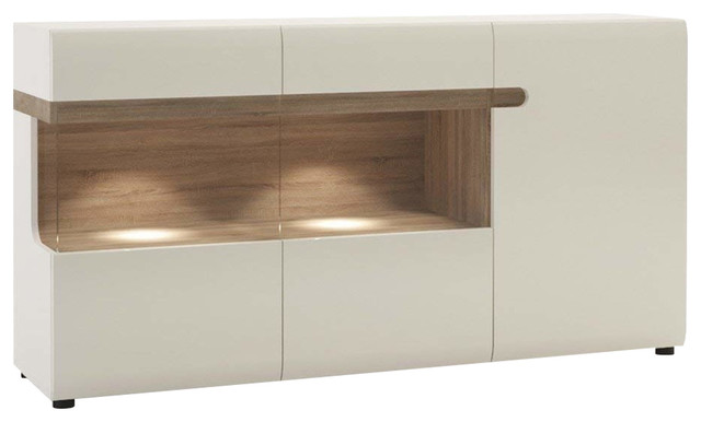 Contemporary Sideboard, White High Gloss Finish With 3-Door and Glass Display