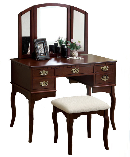 5 drawer make up vanity tri folding mirror padded bench for Bedroom vanity with drawers