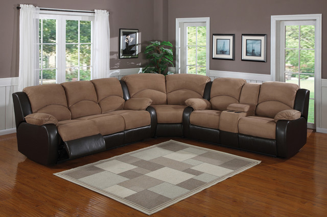 saddle brown padded microfiber suede reclining sectional sofa console S690QA0Z