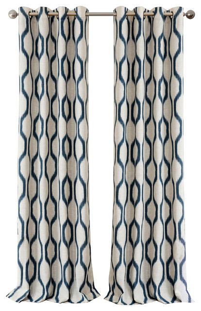 "Renzo Blackout Grommet Linen Window Curtain, Indigo, 52"" X 95""."