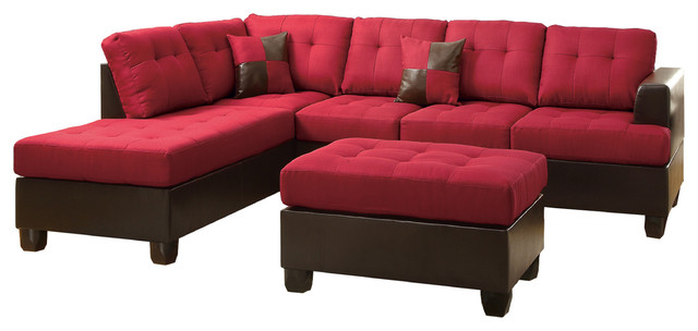 3 Pieces Left/Right Reversible Sectional Sofa Chaise Set Ottoman Option