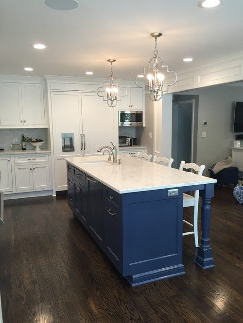 Kitchen reveal navy island and white cabinets for Navy blue granite countertops