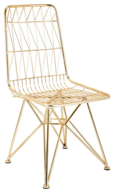 Imax Larkin Chair In Gold Finish And Geometric Shape