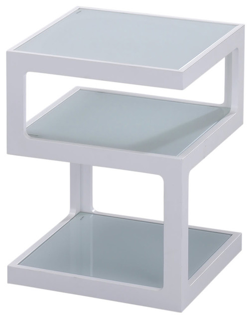 3 Tier Wood/Glass Accent Table, White Contemporary Side Tables And