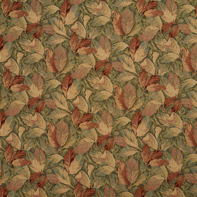 Burgundy And Green, Floral Leaves Tapestry Upholstery Fabric By The Yard