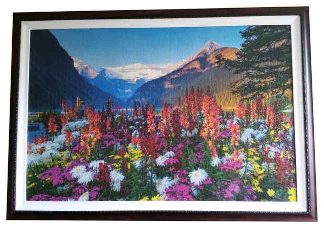 Large Flowery Mountains Landscape Wall Art Professionally Custom Framed