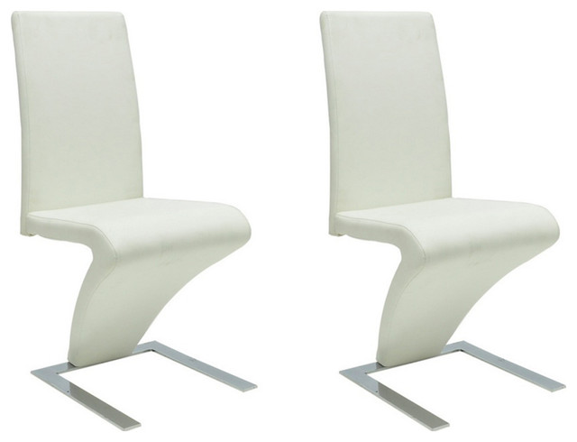 vidaXL Set of 2 Faux Leather Iron Dining Chairs, Zigzag Shape, White