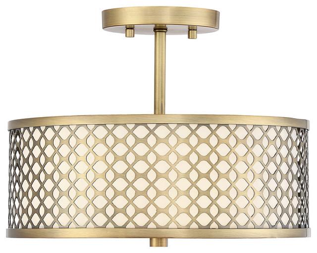 Transitional 2-Light Semi-Flush Mounts, Natural Brass.