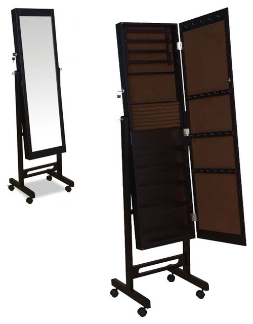 espresso rolling jewelry armoire wardrobe floor dressing mirror cheval glass
