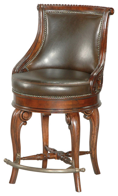 Tatum Swivel Counter Stool Dark Leather Traditional