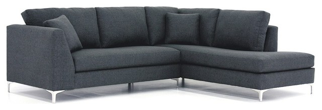 Mulholland 2PC Sectional Sofa, Smoke, Chaise on Right (as Shown