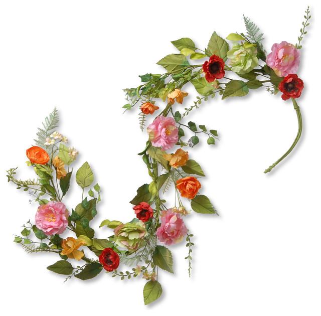 5&x27; Spring Flower Garland.