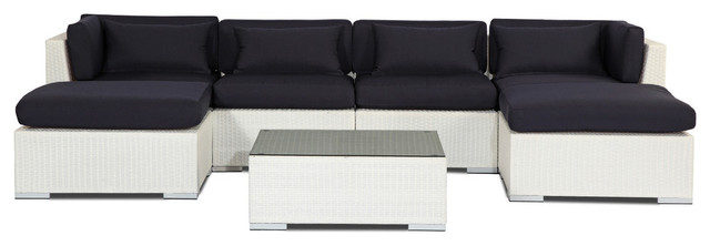 Napali 7-Piece Outdoor Sofa Sectional Set, Seat: Navy, Wicker: White.