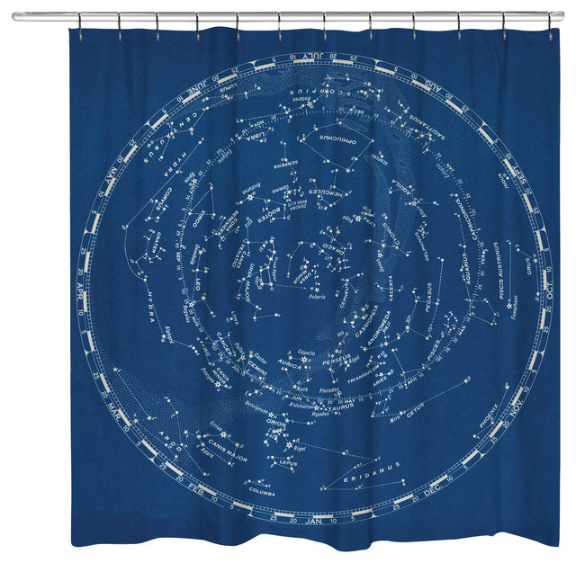 Stars And Constellation Chart Shower Curtain Contemporary Curtains