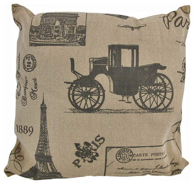 TanBrown Canvas French Postcard Victorian Paris Print Throw Pillow Classy Victorian Pillows Decorative