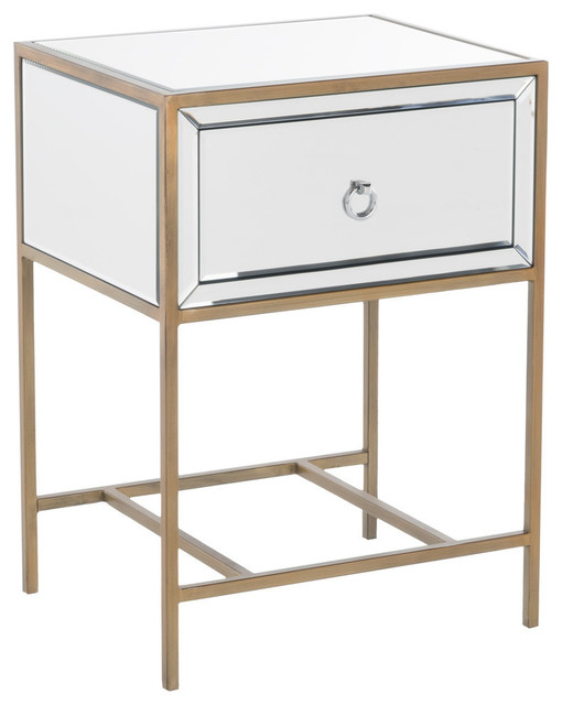 GDF Studio Essa Mirrored Gold Single Drawer Side Table