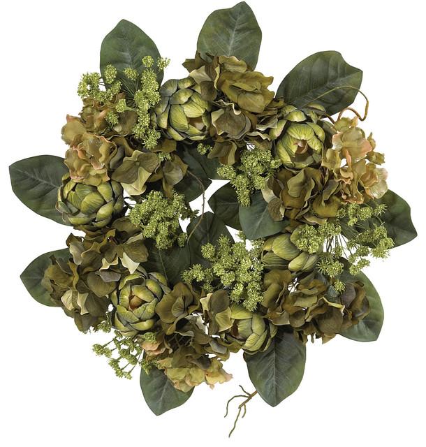 "Nearly Natural 18"" Artichoke Wreath."