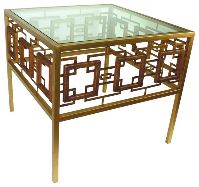 Dr Livingstone I Presume Furniture Dr Livingstone I Presume Italian Gold Geometric Square Design Side ...