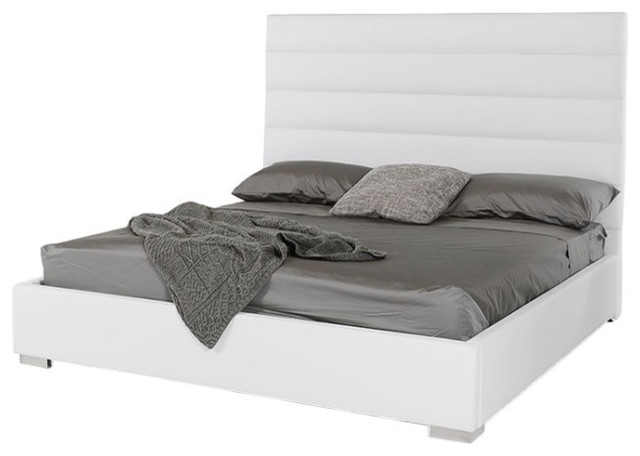 Modrest Kasia Modern White Leatherette Bed, Queen.