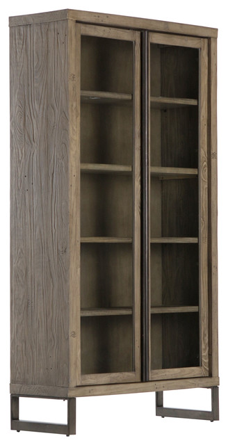 """79"""" Getulio Cabinet Bookcase Iron Pine Banded Gunmetal Monument Gray"""