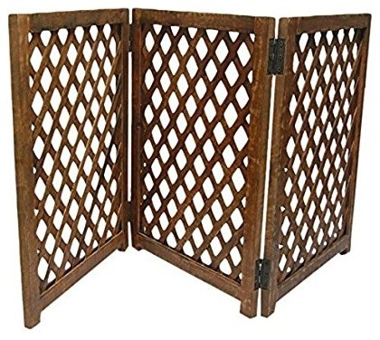 Rustic 3 Panel Mango Wood Folding Pet Gate Ideal For Dogs And Puppies