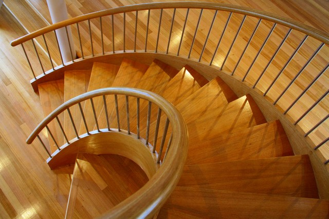 Geometric Stairs Geometric Staircase Melbourne: Open Curved Geometric Stair With Stainless Steel Balusters