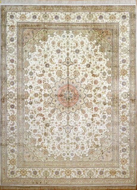 9'x12' Handmade Persian Silk Rug Turkish Silk Carpet Oriental Silk Rugs - Traditional - Area Rugs - by Yilong Silk Rug Warehouse USA Inc.