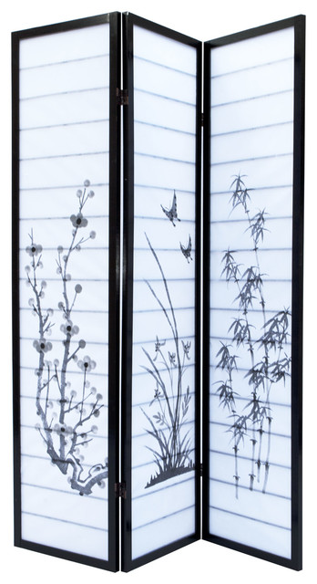 Aleko Prd Room Divider Black Wood Frame With Rice Paper Panel - Cherry blossom room divider screen