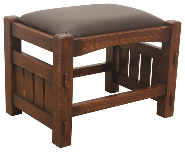 Mission Style Solid Oak And Leather Foot Stool Craftsman Accent And Garden