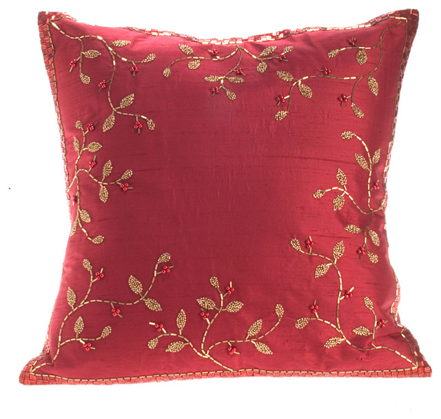 Red Silk Decorative Pillows : Red Silk With Gold Branch Pillow - Traditional - Decorative Pillows - by Arcadia Home