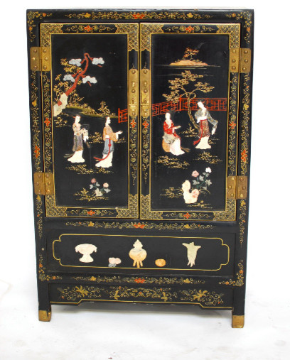 Antique Asian Lacquer Cabinet w/ Hard Stone Applique asian-furniture - Antique Asian Lacquer Cabinet W/ Hard Stone Applique - Asian