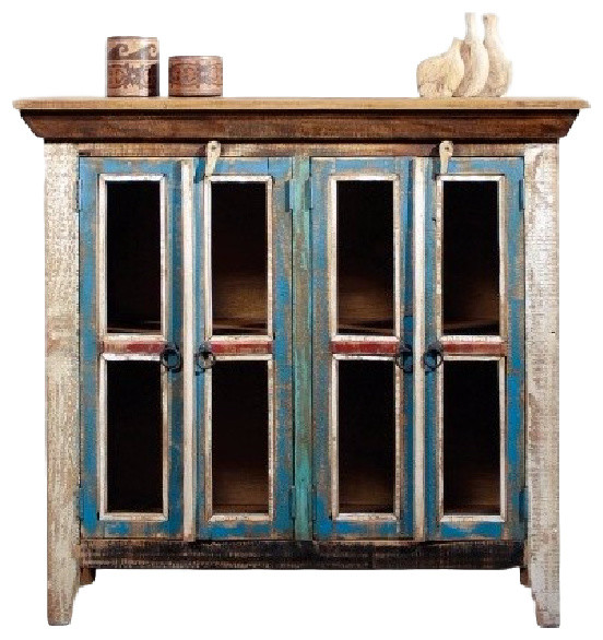 Distressed Reclaimed Wood Entry Cabinet Blue Living
