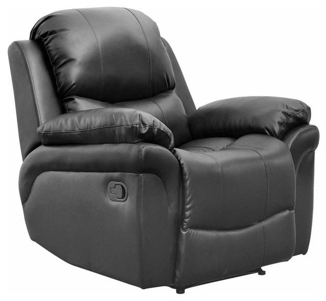 Miraculous Modern Recliner Chair Upholstered Bonded Leather With Cushioned Armrest Black Pdpeps Interior Chair Design Pdpepsorg