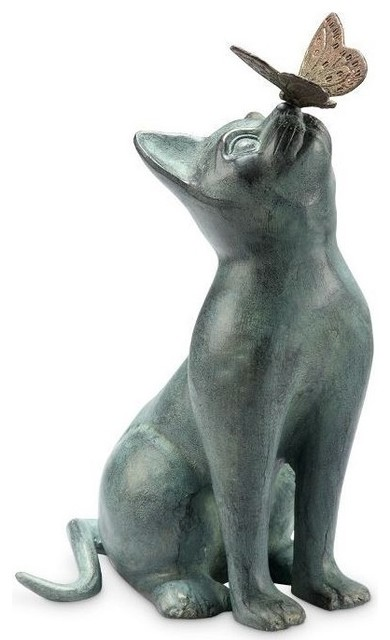 Merveilleux Curiosity Garden Sculpture, Cat With Butterfly