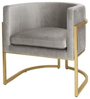 Worlds Away Jenna Gold Leaf Frame Arm Chair Gray Velvet